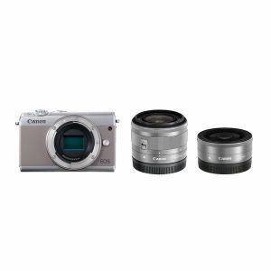 【エントリーでポイント5倍】キヤノン(Canon) ミラーレス一眼 EOS M100 ダブルレンズキット グレー