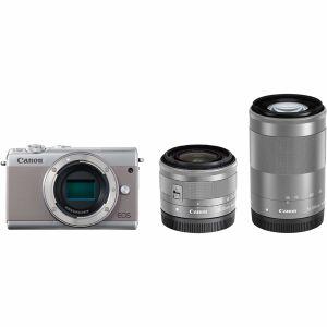 【エントリーでポイント5倍】キヤノン(Canon) ミラーレス一眼 EOS M100 ダブルズームキット グレー