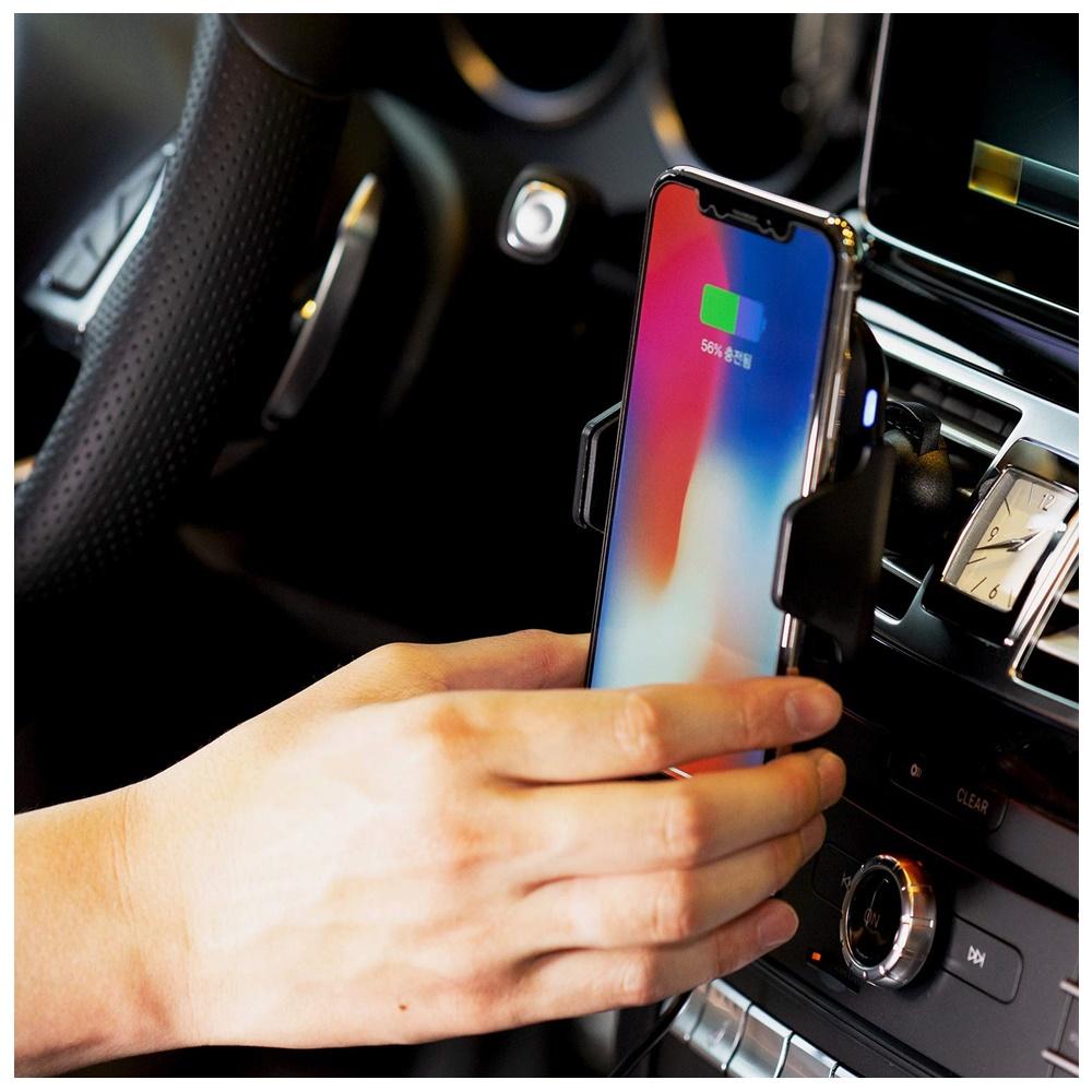 10W 車載ワイヤレス充電器 スマホ 充電器 車 充電器 高速充電 充電保護 赤外線センサー Qi国際認証取得済 急速充電スタンド スマホグッズ 充電器 iphone ワイヤレス LED iPhoneX iPhone8 iPhone8 plus Galaxy S8 S8 Plus Note 5 note 8 S6 S6 Edge S6 Edge Plus S7 S7 Edge