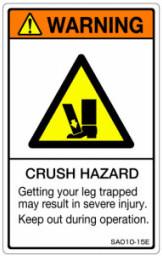 1シート販売 ISO警告ラベル縦型 SA 新色追加 英文 1シート5枚付 超安い SA010-15E 縦80mm横50mm