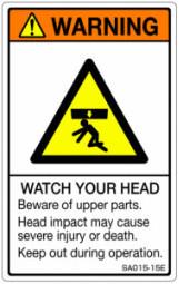 5シート販売 ISO警告ラベル縦型 SA 出荷 英文 SA015-15E お得 で5シートです ご注文の 縦80mm横50mm 1シート5枚付 個数→1