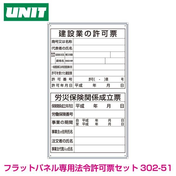 薄型許可票2点表示入パネル縦型 302-51