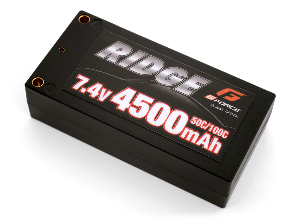 G-Force RIDGE 電動カー用ショートLi-Poバッテリー 7.4V 4500mAh 50C/100C