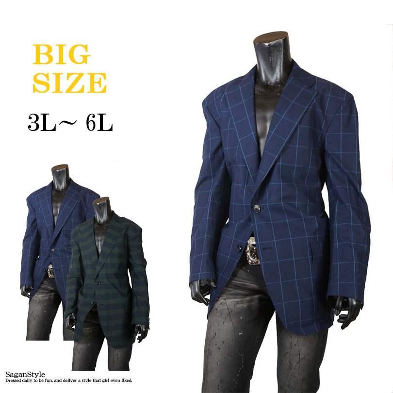 大きいサイズ メンズ テーラードジャケット キングサイズ ジャケット シングルジャケット チェック 薄手 ライトアウター カジュアル 3L 4L 5L 6L C300201-02 男 かっこいい 服 おしゃれ ちょいわる モテ服 流行 トレンド インスタ映え
