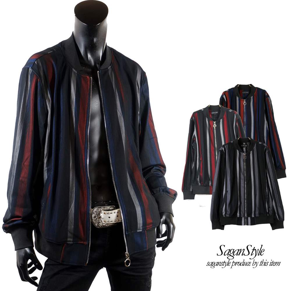 ゴシック メッシュ ストライプ ボンディング ブルゾン ジャケット メンズ I010311-14 男 かっこいい 服 おしゃれ ちょいわる モテ服 流行 トレンド cp3