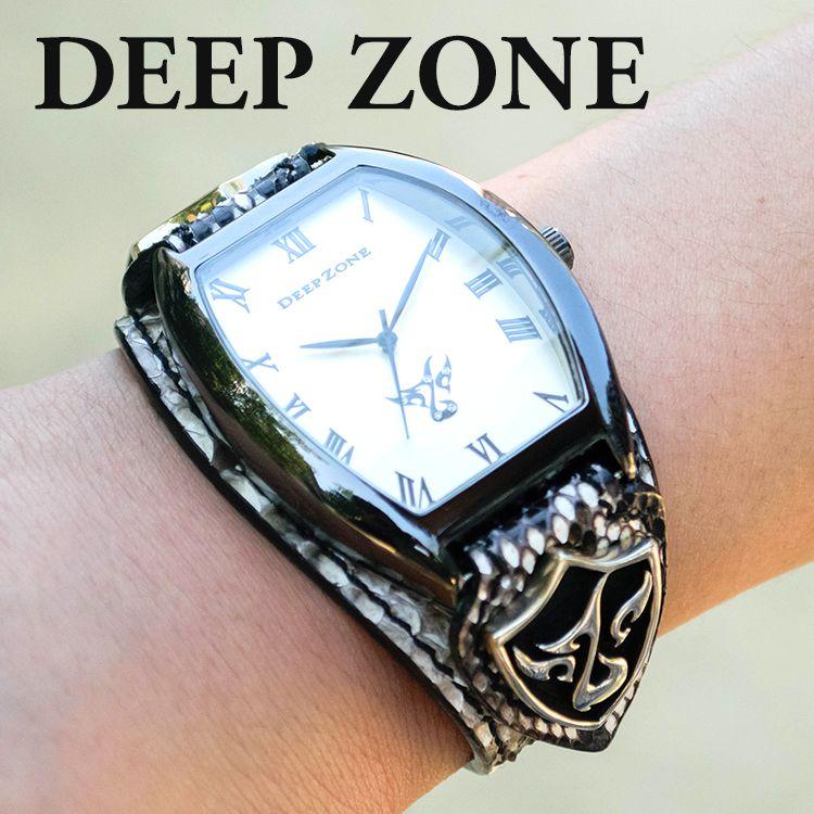 腕時計 ブレスウォッチ パイソンレザー Deep Zone トノーフェイス ホワイトフェイス スネークレザーベルト 専用ボックス付き #498-13 ◆ 本革 ヘビ皮 ホワイトメタル 休日 彼氏 父親 プレゼント ギフト メンズウォッチ ◆