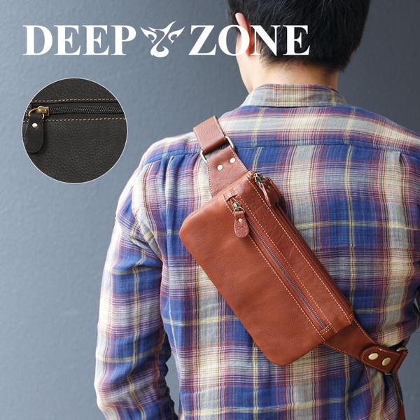 ボディバッグ メンズ 本革 レザー 牛革 3層 薄マチ カウレザー 肩掛け Deepzone