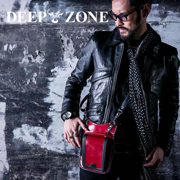 ヒップバッグ ショルダーバッグ メンズ 本革 レザー 2WAY レザー イタリアンレザー レッド Deep Zone