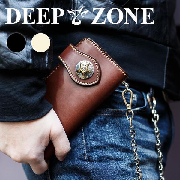 長財布 メンズ 本革 ドットボタン仕様 レザー 牛革 ウォレット 財布 男性 ギフト プレゼント DEEP ZONE