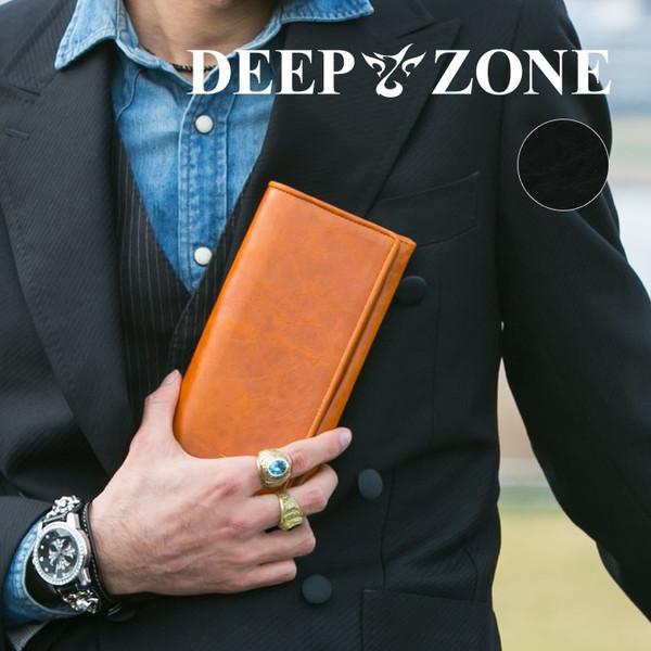 長財布 ロングウォレット メンズ イタリアンレザー カジュアル 薄マチ ビジネス 牛 本革 Deep Zone