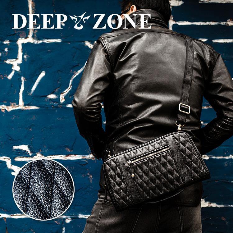 ショルダーバッグ メンズ 本革 レザー セカンドバッグ クラッチバッグ キルティング 大容量 DEEP ZONE