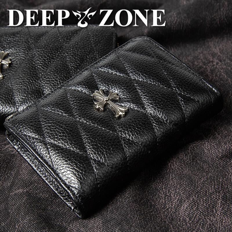 折り財布 本革 キルティングレザー クロスモチーフ DEEP ZONE