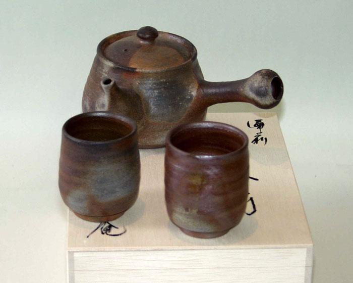 急須 湯呑 茶器セット 夫婦湯呑 備前焼 茶の間(小)(桟切)