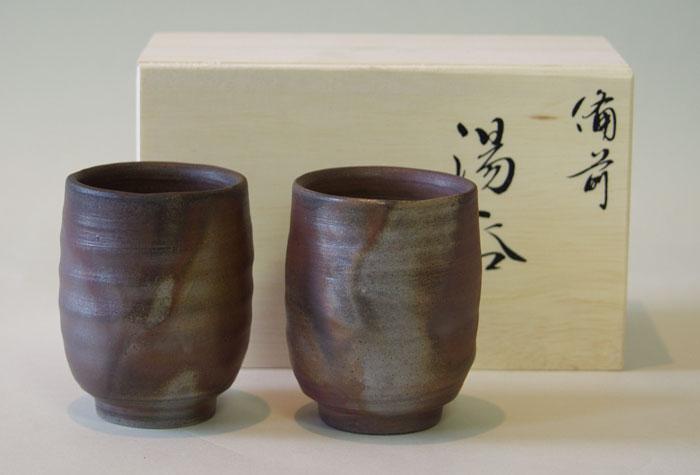 ゆのみ 茶器 湯飲み ペアーセット 夫婦湯呑 備前焼 組湯呑(大)(桟切)