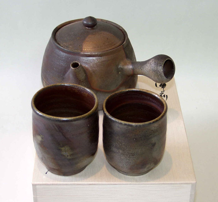 急須 湯呑 茶器セット 夫婦湯呑 備前焼 茶の間(大)(桟切)