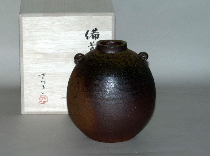 花器 花入 花瓶 フラワーベース 備前焼 堀江さつき作 扁壺(さつき-01)