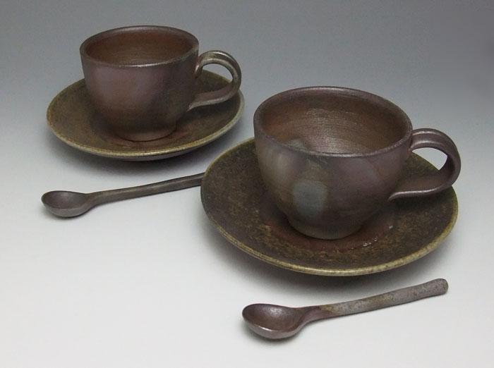 備前焼 コーヒーセット 紅茶セット 紅茶碗皿 コーヒーカップ ペアセット 備前焼 組ティ-セット(桟切)スプーン付 送料無料