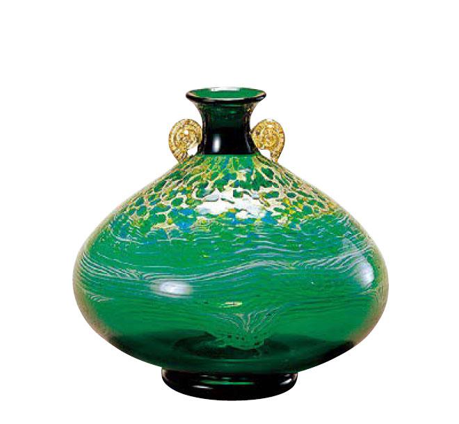 津軽びいどろ 花瓶 大川薫工房 奥入瀬新緑 花瓶(大) 石塚硝子 アデリア
