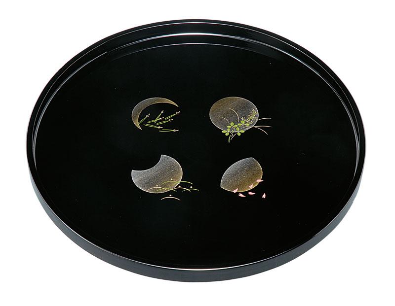 お盆 トレー 記念品 引出物 10.0 丸盆 黒 小夜 木製 23-8-1