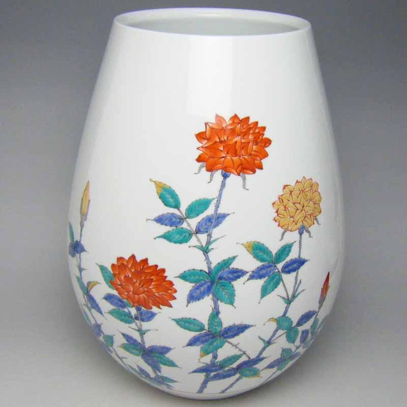 花器 フラワーベース 有田焼 錦バラ絵花瓶