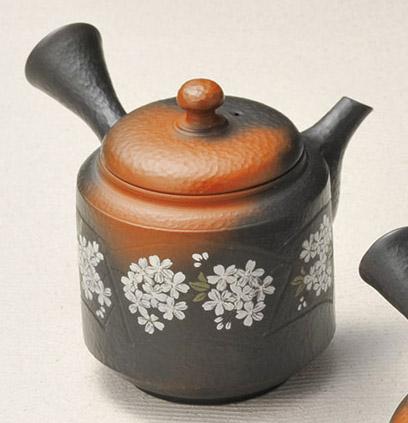 急須 常滑焼 益規作 切立桜 陶製茶こし 240cc