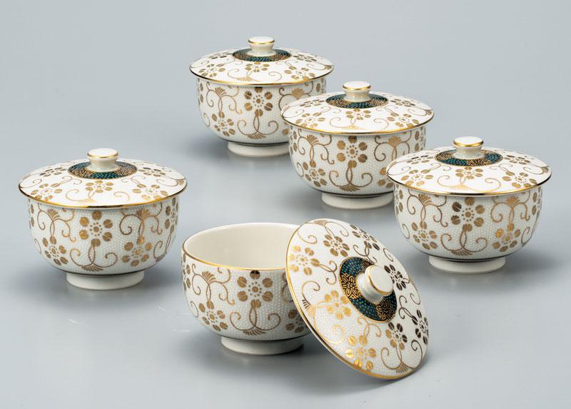湯呑 茶器 セット 九谷焼 蓋付汲出揃 白粒鉄仙 ap4-0545