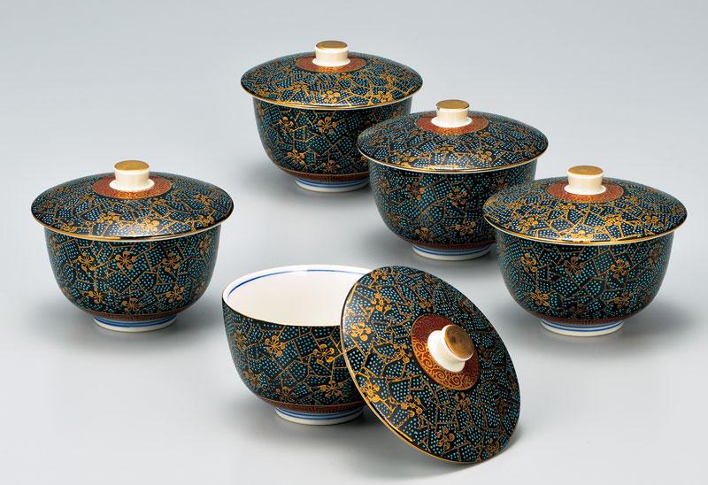 湯呑 茶器 セット 九谷焼 蓋付汲出揃 香林梅 ap4-0544