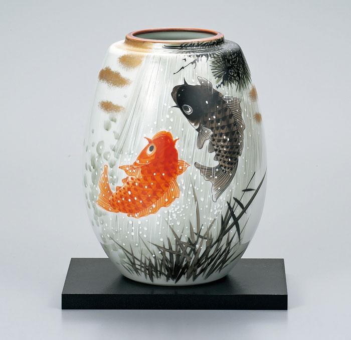 花器 フラワーベース 九谷焼 8号 花瓶 夫婦鯉滝登り 福田良則 ap4-1037