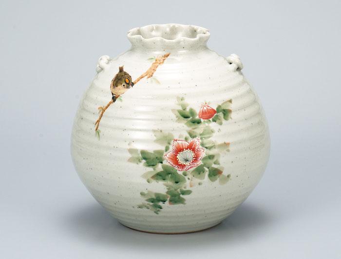 花器 フラワーベース 九谷焼 7号 花瓶 花鳥 中村陶志人 ap4-1047
