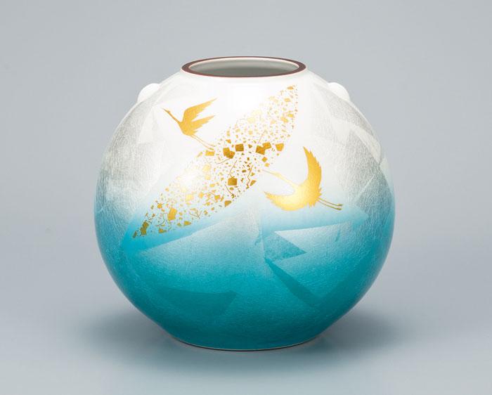 花器 フラワーベース 九谷焼 7号 花瓶 銀彩金鶴 ap4-1050