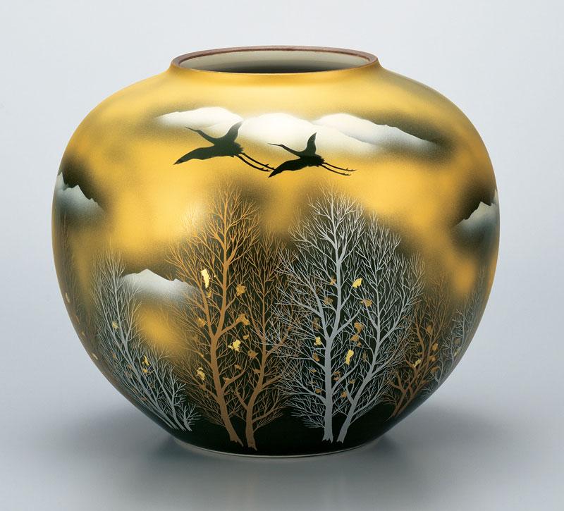 花器 フラワーベース 九谷焼 10号 花瓶 金雲木立 ap4-1058