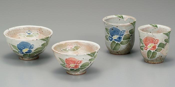 茶碗 湯呑 夫婦セット 九谷焼 夫婦揃 盛椿 送料無料 ap4-0606