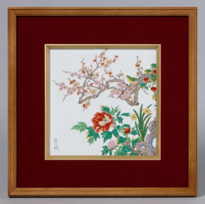 パネル 有田焼 鶯花 (陶板 額装ビロード張) Y377-CF