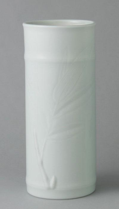 有田焼 10寸筒型花瓶 彫笹 Y213-W