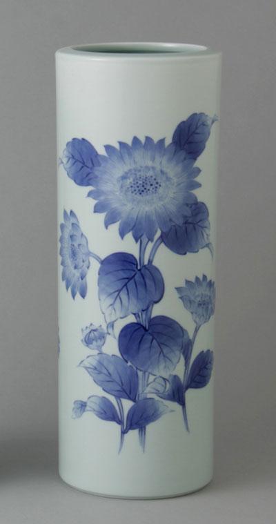 有田焼 10寸筒型花瓶 ひまわり Y216-W