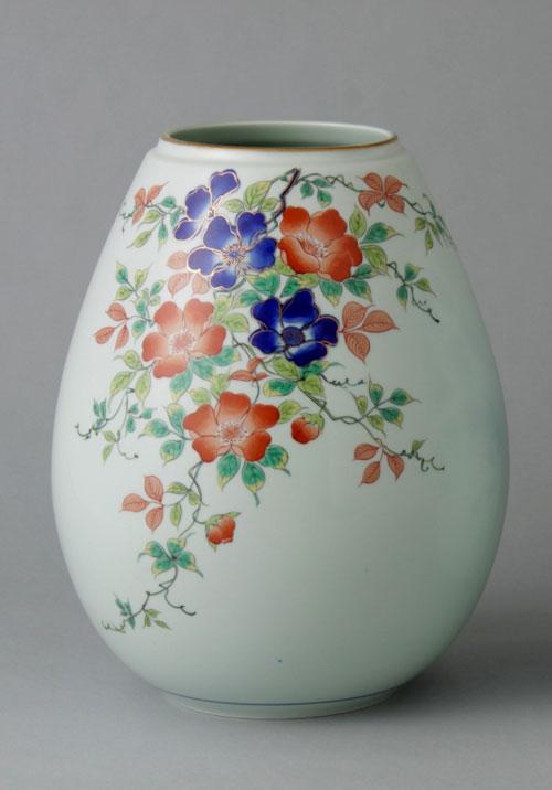有田焼 8寸姫型花瓶 野ばら Y225-W