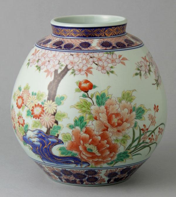 有田焼 8寸ふくさ型花瓶 桜牡丹 Y236-W