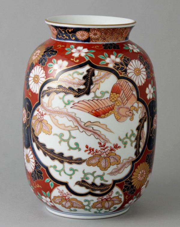 有田焼 10寸提燈型花瓶 染錦赤濃木甲 Y259-W