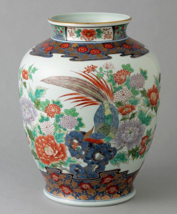 有田焼 10寸泉型花瓶 染錦花鳥 Y251-W