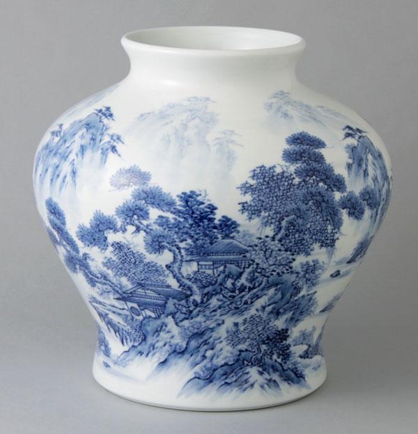 有田焼 10寸大胴花瓶 山水 Y256-W