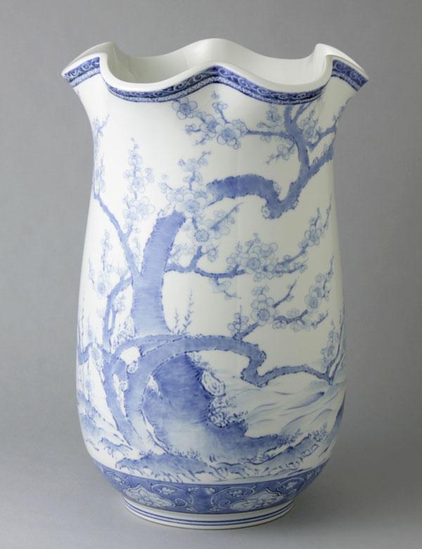 有田焼 15寸花型花瓶 染付古木梅 Y262-W