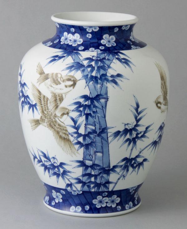 有田焼 10寸泉型花瓶 竹雀 Y258-W