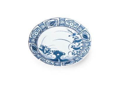 賞美堂 其泉窯 パン皿 ケーキ皿 中皿 和皿 和食器 陶器 おしゃれ 有田焼 染付芙蓉手 パン皿揃(5客)