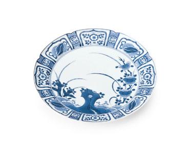 賞美堂 其泉窯 パン皿 ケーキ皿 中皿 和皿 和食器 陶器 おしゃれ 有田焼 染付芙蓉手 デザート皿揃(5客)送料無料