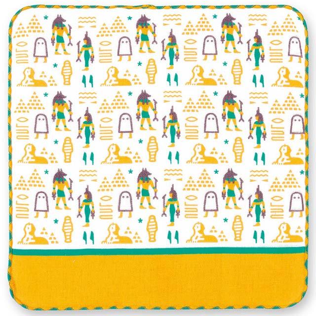 日本製 ハンドタオル ガーゼ タオルハンカチ パイル 綿100% 期間限定 エジプト紳 アヌビス メジェド ピラミッド 象形文字 イシス ミイラ 追跡可能メール便送料無料 エジプト ハンカチ ストア ヒエログリフ スフィンクス 町娘のハンカチーフ 博物館篇