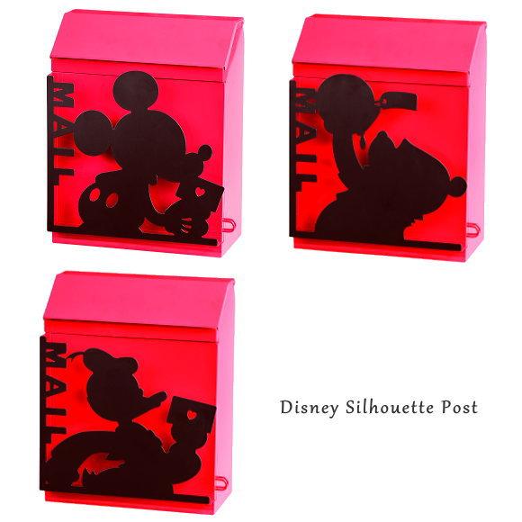 新製品!ディズニー シルエット置き壁掛け兼用ポスト ミッキー・ドナルド・プーさん(おしゃれ郵便ポスト・かわいいメールボックス・郵便受け・POST)