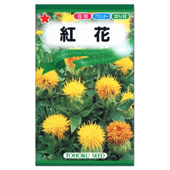 トーホク 紅花 種(一年草 花壇 プランター 切り花 草花 べにばな たね ベニバナ)