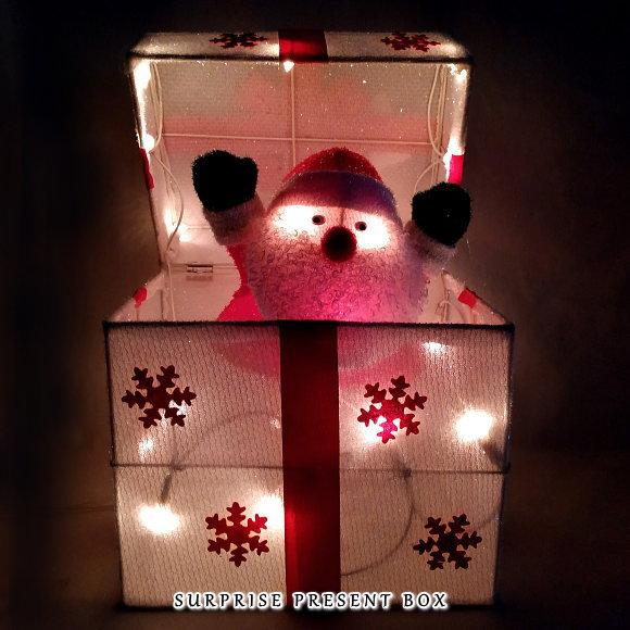 新製品!光るサプライズプレゼントボックス サンタ(9708SA かわいい 店舗 装飾 電飾 ディスプレイ 飾り)