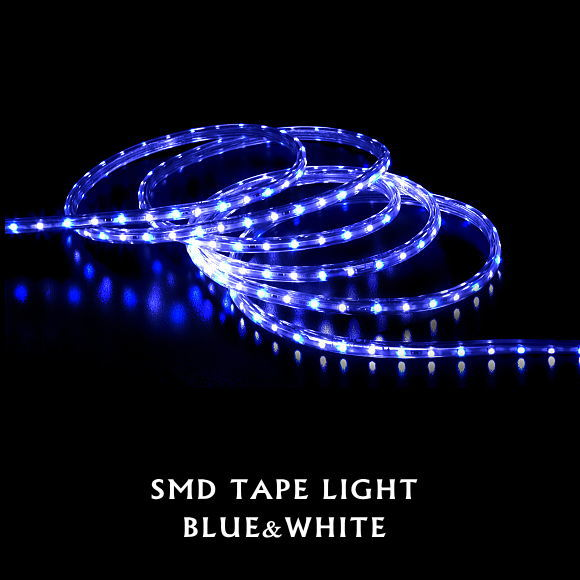 送料無料!SMDテープライト15m(ブルー&ホワイト)(5387BW クリスマスイルミ 電飾 ストレート ロープライト 飾り 壁面 ベランダ お庭 玄関)