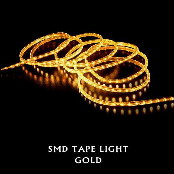 送料無料!SMDテープライト15m(ゴールド)(5387GO クリスマスイルミ 電飾 ストレート ロープライト 飾り 壁面 ベランダ お庭 玄関)